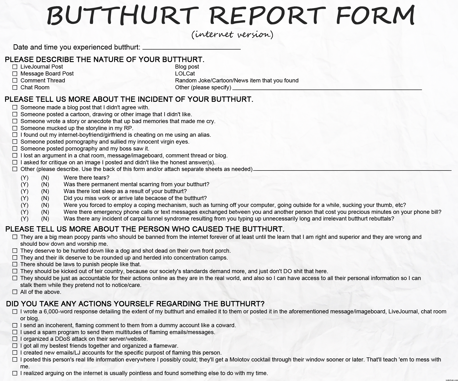 Butthurt Form | Taking Back America