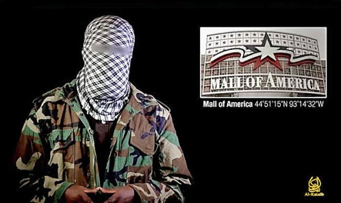 A masked man in a purported al-Shabaab video urges followers to use the 2013 Nairobi, Kenya, mall attack as inspiration for attacks on malls around the world including the Mall of America in Bloomington.
