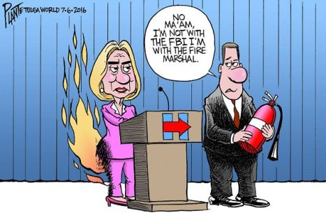 Bruce Plante Cartoon: Hillary's pant suit, Secretary Hillary Clinton, email scandal, Presumptive Democratic Presidential Nominee 2016, Presidential Campaign 2016, Federal Bureau of Investigation, FBI, FBI Director James Comey, Plante 20160707